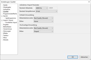 04-Einstellungen zur Qualität, Samplerate 48000 Hz, Sampleformat 24-bit.png